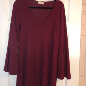 Altar'd state maroon ribbed long sleeve dress